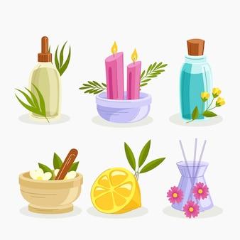 Ensemble d'éléments d'aromathérapie dessinés à la main