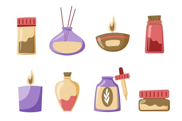 Ensemble d'éléments d'aromathérapie