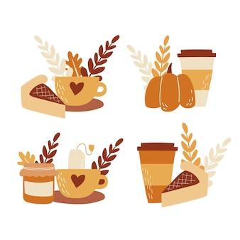 Ensemble d'éléments d'automne boissons chaudes thé avec confiture citrouille café au lait avec tarte