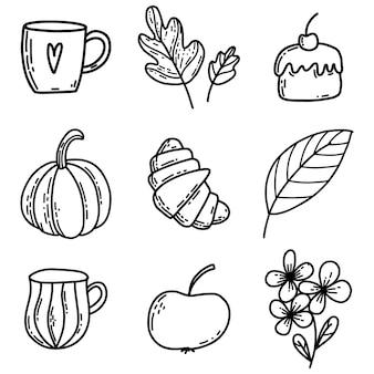 Ensemble d'éléments d'automne de griffonnage de feuilles de tasse de pomme de gâteau de croissant de fleur de citrouille