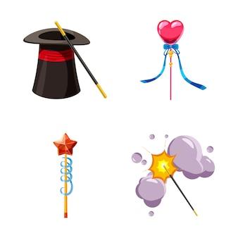 Ensemble d'éléments baguette magique. jeu de dessin animé de baguette magique