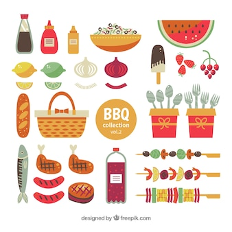 Ensemble d'éléments de barbecue dans un style plat
