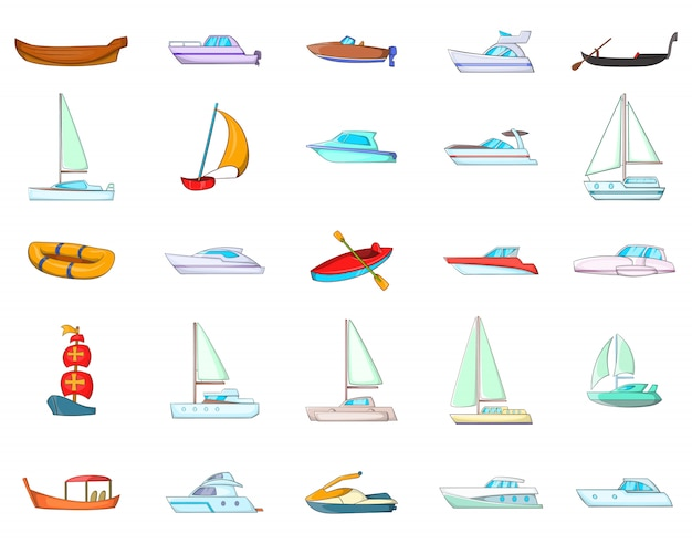 Ensemble d'éléments de bateau. jeu de dessin animé d'éléments de vecteur de bateau
