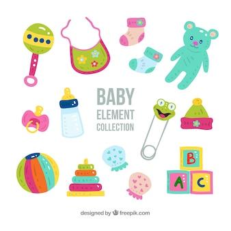 Ensemble d'éléments de bébé dans un style dessiné à la main