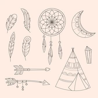 Ensemble d'éléments boho dessinés à la main de gravure