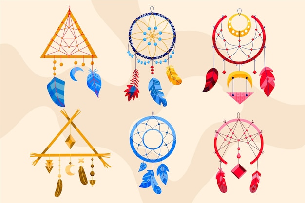 Ensemble d'éléments boho dessinés à la main