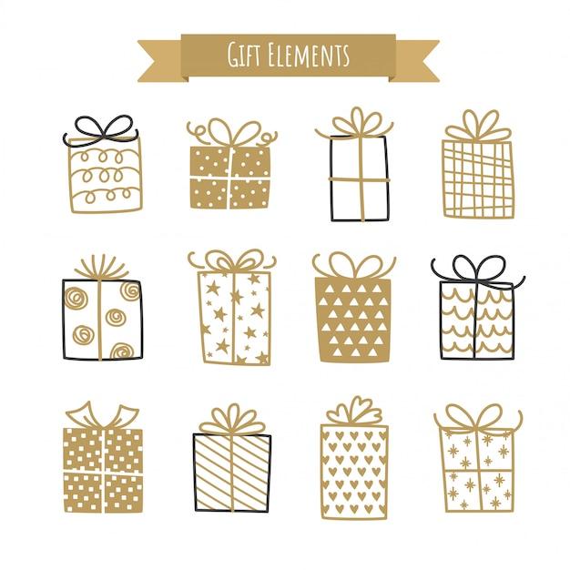 Ensemble d'éléments de boîte de cadeau.