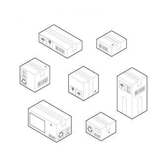 Ensemble d'éléments de la boîte. vecteur de contour isométrique isolé