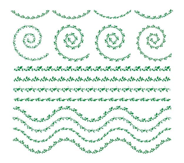 Ensemble d'éléments de bordures dessinées à la main collection ornement floral swirl vector