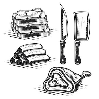 Ensemble d'éléments de boucherie pour créer vos propres badges, logos, étiquettes, affiches, etc.