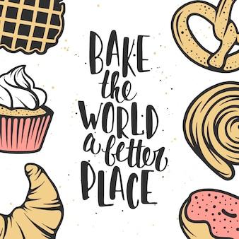 Ensemble d'éléments de boulangerie de vecteur et de lettrage.