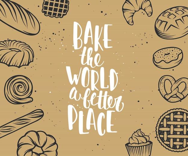 Ensemble d'éléments de boulangerie de vecteur et lettrage