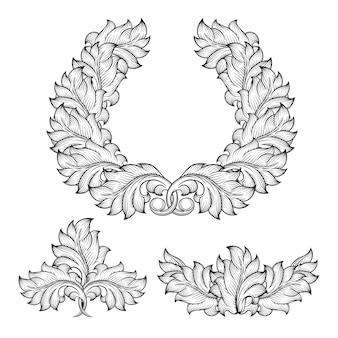 Ensemble d'éléments de cadre de gravure d'ornement de défilement de feuille florale baroque vintage. style de design abstrait rétro victorien décoratif,