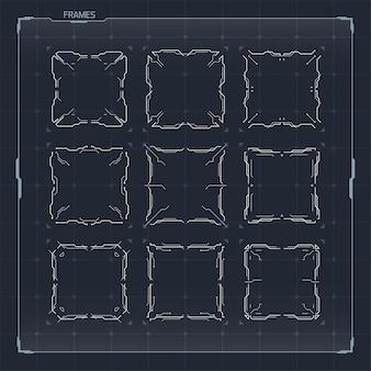 Ensemble d'éléments de cadres pour les interfaces hud sci fi