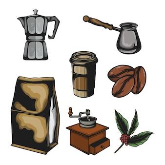 Ensemble d'éléments de café de vecteur