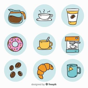 Ensemble d'éléments café