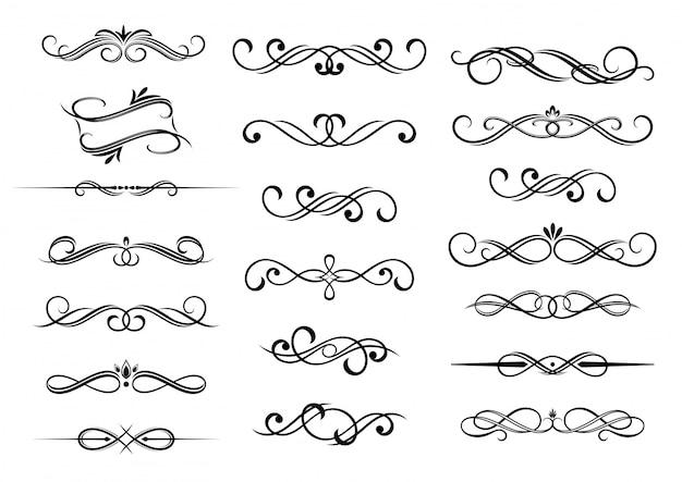 Ensemble d'éléments calligraphiques de bordure