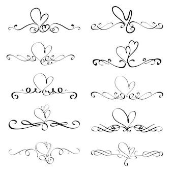 Ensemble d'éléments calligraphiques décoratifs de coeur pour la décoration.