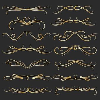 Ensemble d'éléments calligraphiques décoratifs dorés pour la décoration.