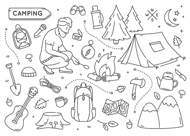 Ensemble d'éléments de camping doodle