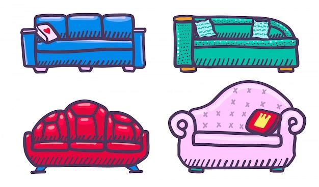 Ensemble d'éléments de canapé, style dessiné à la main