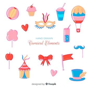 Ensemble d'éléments de carnaval dessinés à la main