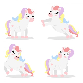 Ensemble d'éléments de cartoon mignon unicorn