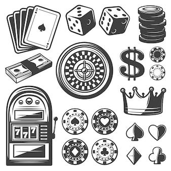 Ensemble d'éléments de casino vintage
