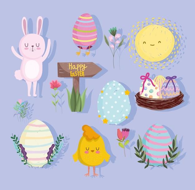 Ensemble d'éléments de célébration de pâques