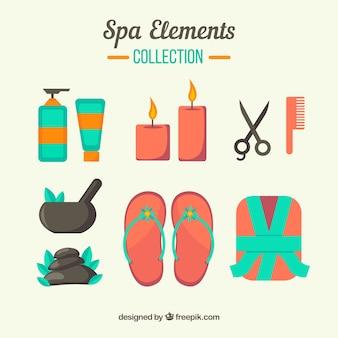 Ensemble d'éléments de centre de spa avec des bougies et des huiles aromatiques
