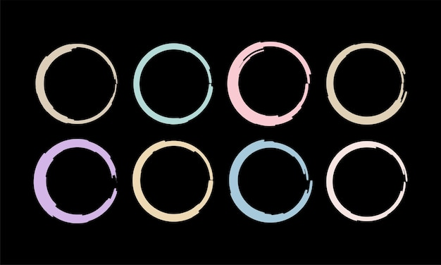 Ensemble d'éléments de cercle de coup de pinceau coloré