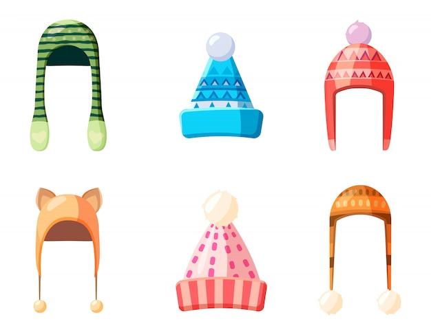 Ensemble d'éléments de chapeau d'hiver. jeu de dessin animé de chapeau d'hiver