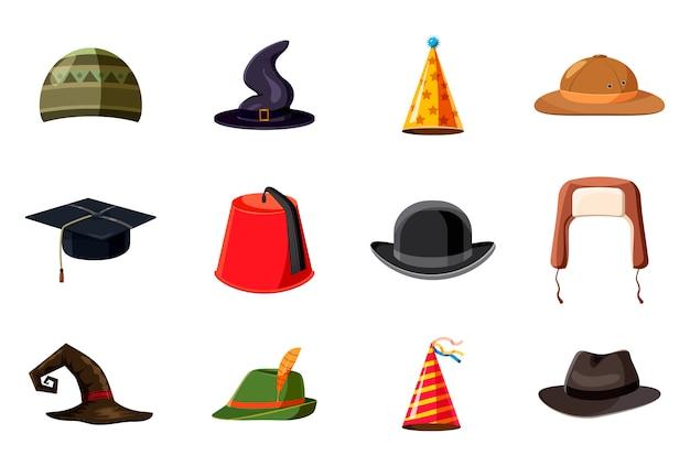 Ensemble d'éléments de chapeau. jeu de dessin animé de chapeau