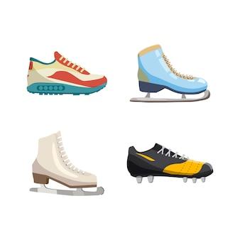 Ensemble d'éléments de chaussures de sport. ensemble de dessin animé de chaussures de sport