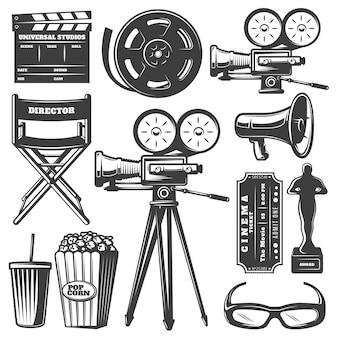 Ensemble d'éléments de cinéma monochrome