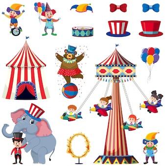 Ensemble d'éléments de cirque sur blanc