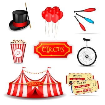 Ensemble d'éléments de cirque itinérant