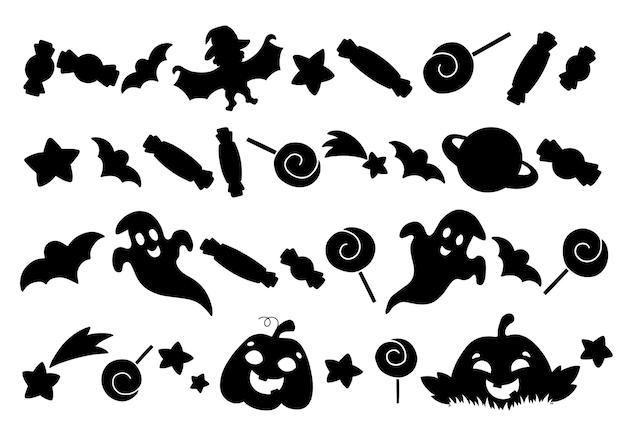 Ensemble d'éléments de citrouille fantômes bonbons étoiles silhouette noire thème halloween