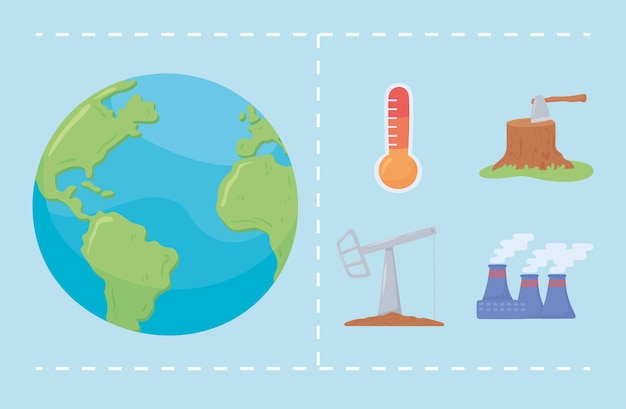 Ensemble d'éléments climatiques du changement mondial