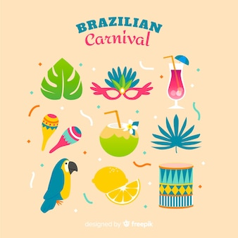 Ensemble d'éléments colorés de carnaval brésilien