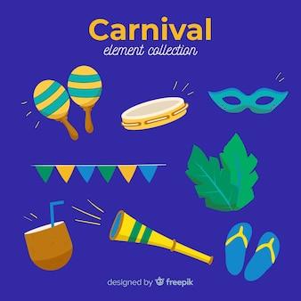 Ensemble d'éléments colorés de carnaval