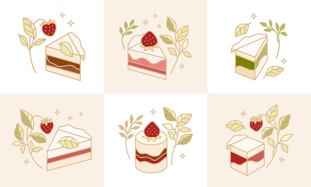 Ensemble d'éléments colorés de pâtisserie, de gâteau et de boulangerie