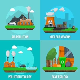 Ensemble d'éléments colorés de pollution environnementale