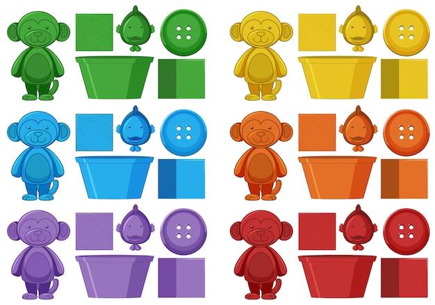 Ensemble d'éléments colorés