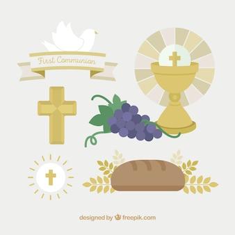 Ensemble d'éléments de communion en conception plate