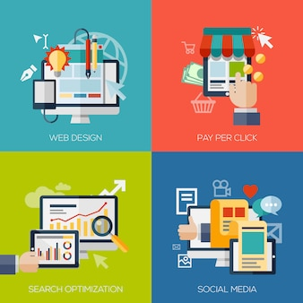 Ensemble d'éléments de concept design plat pour les applications et services web et mobiles