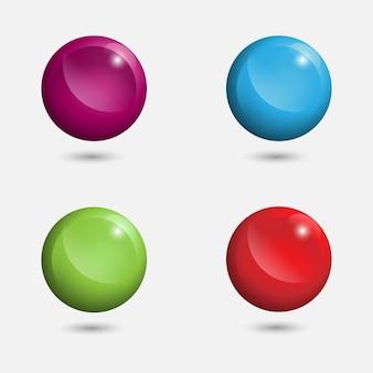 Ensemble d'éléments de conception 3d de vecteur de balle, icônes brillantes