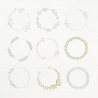 Ensemble d'éléments de conception autocollant doodle feuillu