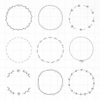 Ensemble d'éléments de conception d'autocollant de journal doodle feuillu