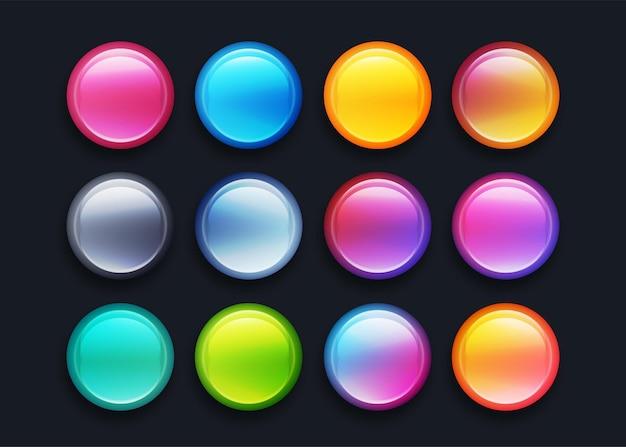 Ensemble d'éléments de conception de bouton 3d